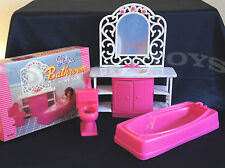 GLORIA DOLL HOUSE FURNITURE SIZE BATHROOM TUB & MIRROR PLAYSET FOR BARBIE