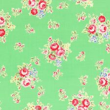 GREEN FLOWER SUGAR FALL ROSES FLORAL #3554 COTTON QUILT BTY LECIEN JAPAN FABRIC
