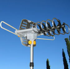 150MILES OUTDOOR TV ANTENNA MOTORIZED AMPLIFIED HDTV HIGH GAIN UHF VHF REFURBISH