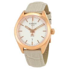 Tissot PR100 Silver Dial White Leather Ladies Watch T1012103603100