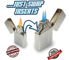 Z-Plus Refillable Dual Butane Torch Flame Insert for Zippo Lighters White/Silver