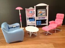 1998 Barbie House Living Room Set Couch Chair Ottoman Entertainment Center Lamp