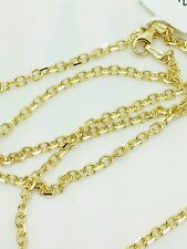 """14k Solid Yellow Gold High Polish Cable Link Pendant Necklace Chain 22"""" 2.3mm"""