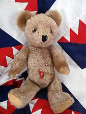 "1950's Old Tan Monair Teddy Bear Swiss made Multzli M.C.Z."" button in chest"