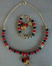 """""""""""Hand Crafted Girlie Pearl Beaded Necklace Set With Minnie Mouse Pendant"""""""""""