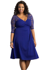 NEW Blue Floral Lace Sleeve Skater Plus Size Dress Party Work 16 18 20 22 24 UK