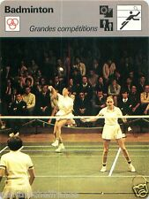 FICHE CARD : GRANDES COMPETITIONS  BADMINTON  70s