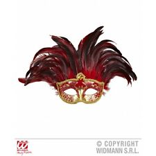 Incas Colombina Mask with Feathers for Venetian Masquerade Carnival Fancy Dress