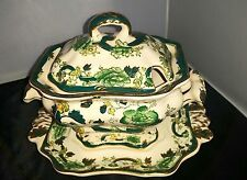 Mason's Ironstone antique green Chartreuse SAUCE TUREEN WITH UNDERPLATE VGC #Q