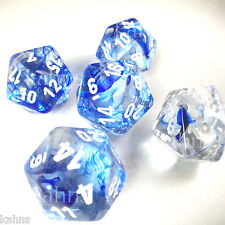 Set of 5 D20 Chessex Dice RPG D&D - Nebula (Clear) Blue Swirls w/ White numbers