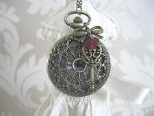 """Queen Of Hearts"" Alice in Wonderland Large Bronze Unique Pocket Watch Necklace"
