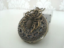 New Large Spider Fantasy Steampunk Goth Antique Bronze Pocket Watch Necklace