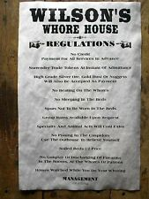 "(639) OLD WEST BROTHEL WILSON'S WHORE HOUSE REGULATIONS NOVELTY POSTER 11""x17"""