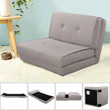 Fold Down Chair Flip Out Lounger Convertible Sleeper Bed Couch Game Dorm Gray