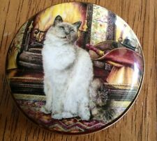 Falcon China Trinket Pill Box with Cat Made in Staffordshire England