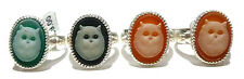 OLD STORE STOCK WOMENS STERLING SILVER JASPERWARE CAT FELINE CAMEO OVAL RING