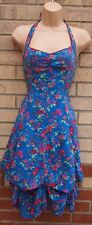 JANE NORMAN  BLUE PINK PARACHUTE HALTERNECK EMBROIDERED BOHEMIAN DRESS 8 S