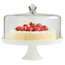 VonShef 30cm Cake Cupcake White Ceramic Display Stand with Glass Dome Lid