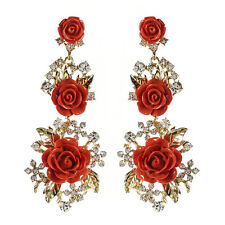NWT Amrita Singh Coral Red Resin Gold Lyon Floral Rose Crystal Earrings ERC 849