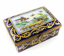 Sevres Porcelain Hinged Trinket Box, hand painted birds, France early 20th cent