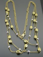 VINTAGE 9ct WHITE & YELLOW GOLD BALL & NUGGET FESTOON NECKLACE 16 inch C.1980