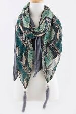 B27 Reptile Print 2 Layer Blue Green Teal Heather Stretch Natural Feather Scarf