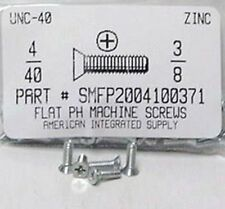 #4-40x3/8 Flat Head Phillips Machine Screws Steel Zinc Plated (100)