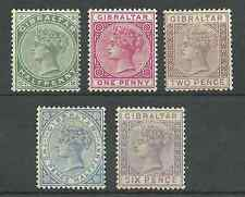 GIBRALTAR SG8,9,10,11&13 QV 1886 MOUNTED MINT SELECTION CAT £321