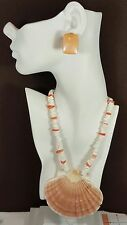 Jewelry Lot Necklace Earrings Clip Large Shell White Orange Puka Summer/Beach