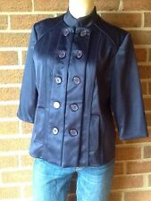 Victor Costa Occasion Stand Collar Sateen Military-Style Topper Jacket Blue M