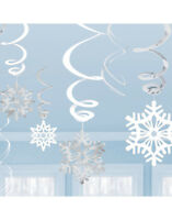 30 x White & Silver Snowflake Hanging Foil Swirl Christmas Party Decorations