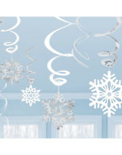 12 x White & Silver Snowflake Hanging Foil Swirl Christmas Party Decoration