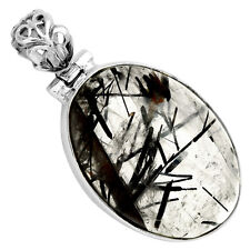 Black Rutile 925 Sterling Silver Pendant Jewelry 6053P