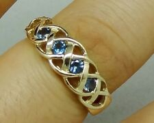 R090 Genuine 9K Gold Filligree Keltic CELTIC Natural London Blue Topaz Ring sz N