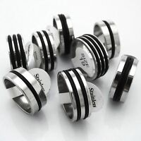 12 X Black Rubber line Men stainless steel rings  job  lots wholesale