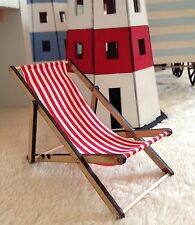 Miniature Deck Chair For Beach Theme Red And White Striped Shabby Chic Seaside