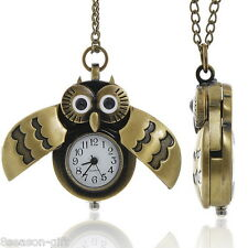 Gift 1PC Pocket Watch Quartz Owl Bronze Tone W/ Battery 83cm