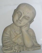 Buddha Bub, Kopf aus Ton, Stirnpunkt, für Haus und Garten, 23x18x14cm
