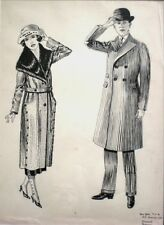 Vintage Illustration 1920s Deco Fashion Ink Drawing Couple New York City Signed