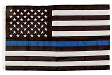 Thin Blue Line Flag 3X5 Foot Premium Stitched Nylon Police Flag