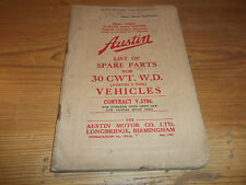 Austin Lorry 30 CWT WD 2 Ton Vehicles List of Spare Parts 1940 Open Cab & Canvas