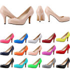 WOMENS LADIES PLATFORM KITTEN PARTY CASUAL COURT LOW MID HEELS SHOES SIZE 2-9