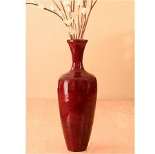 Tall Floor Vase Handcrafted Red Bamboo Accent with Big 5 Foot Floral Decoration