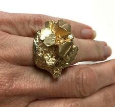 FuNkY WIDE! Chunky! Free Form Gold Nugget Look Ring Gold Tone Size 7.25 cc64b