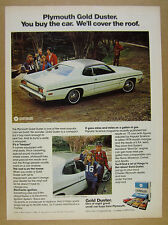 1974 Plymouth Gold Duster car photo vintage print Ad