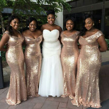 Sparkly Rose Gold Sequin Mermaid Bridesmaid Dresses real madred jersey Custom
