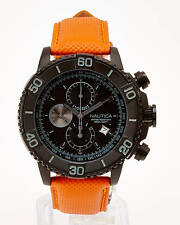 Nautica Black Chronograph Tachymeter Dial Orange Strap Men's Sports Date Watch
