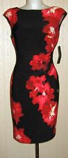 Lauren Ralph Lauren Floral-Print Jersey Black Red Dress sz 14 NEW $144