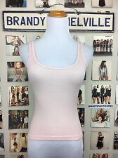 brandy melville pastel Pink Thermal Ribbed scoopneck cotton Tank top NWT Sheer