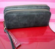 NWT MERONA SEAL GREY CLUTCH WALLET BLACK cards organizer BAG checkbook SNAP